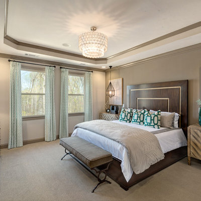 Transitional master carpeted bedroom photo in Atlanta with gray walls