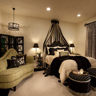 Inspiration for a medium sized traditional master bedroom in Phoenix with beige walls, carpet and no fireplace.