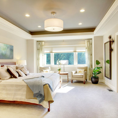 Inspiration for a timeless carpeted bedroom remodel in Tampa with gray walls and no fireplace