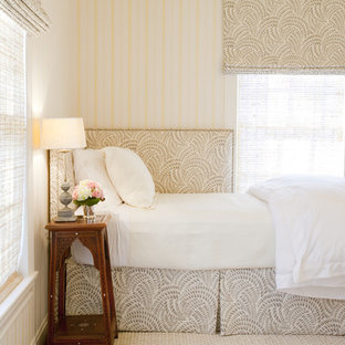 Example of a classic guest bedroom design in Houston with multicolored walls