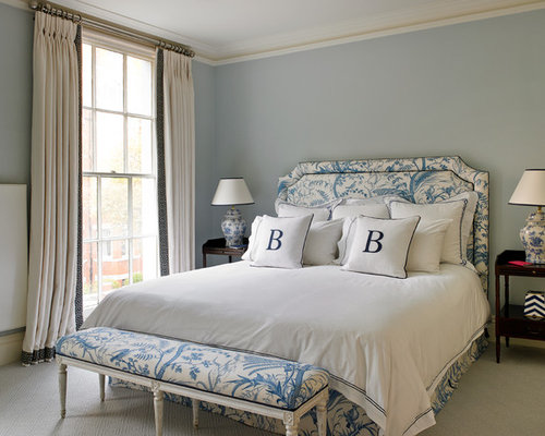 inspiration for a timeless master bedroom remodel in london with carpet