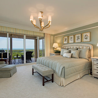 Bedroom - traditional master carpeted and beige floor bedroom idea in DC Metro with green walls