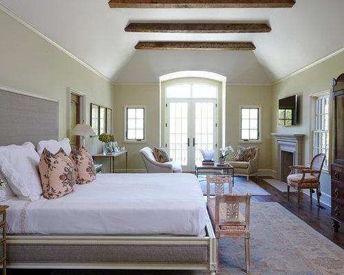 Example Of A Classic Master Dark Wood Floor And Brown Floor Bedroom Design  In Birmingham With