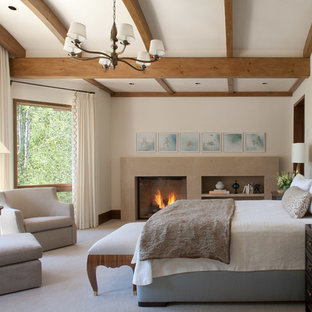 Inspiration for a timeless master carpeted and gray floor bedroom remodel in Denver with beige walls and a standard fireplace