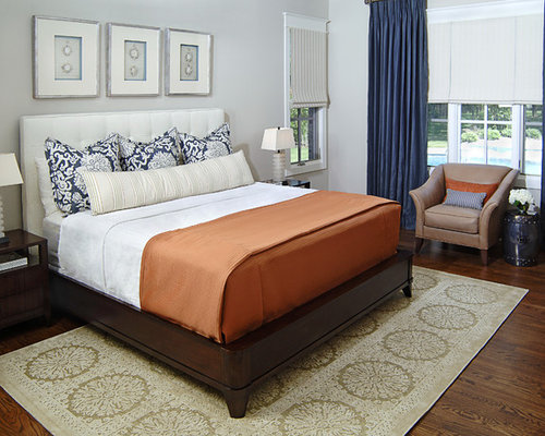 Example of a classic master dark wood floor bedroom design in Dallas with  gray walls. Navy And Gray   Houzz
