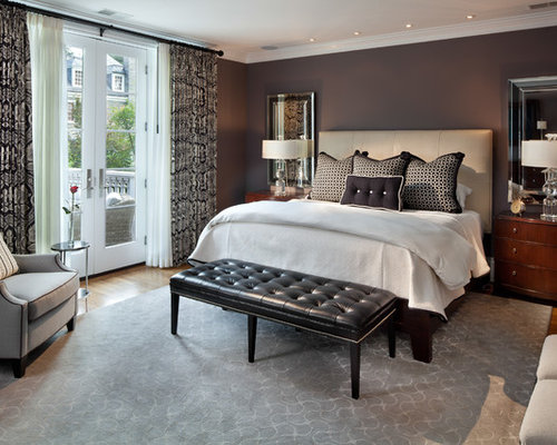 Mid sized traditional master medium tone wood floor bedroom idea in DC  Metro with gray. Bedroom Bench   Houzz