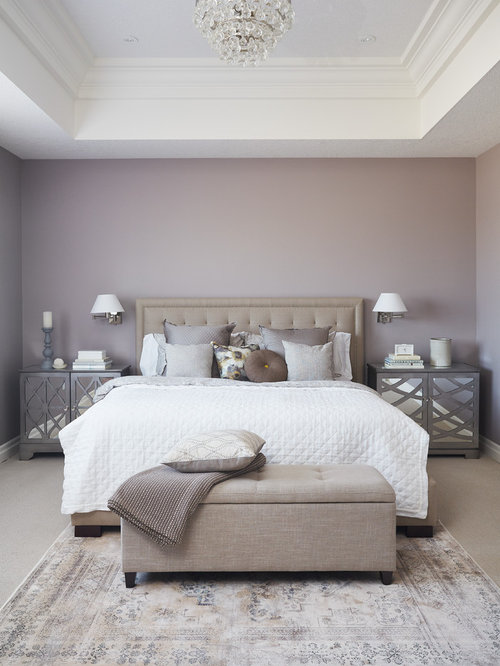 Elegant carpeted bedroom photo in Toronto with purple walls. Best 70 Bedroom with Purple Walls Ideas   Remodeling Pictures   Houzz
