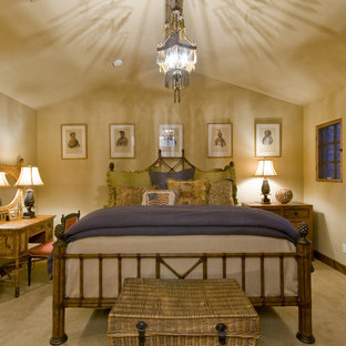 Bedroom - traditional carpeted bedroom idea in Phoenix with beige walls