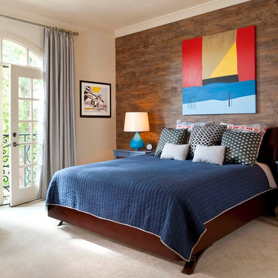 Example of a classic bedroom design in Dallas with white walls
