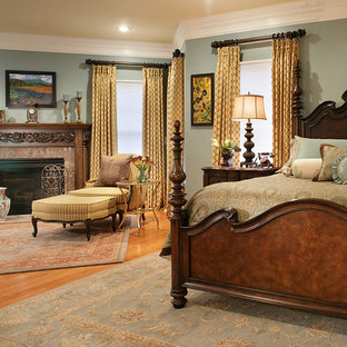 Bedroom - traditional master medium tone wood floor bedroom idea in New York with gray walls, a standard fireplace and a stone fireplace