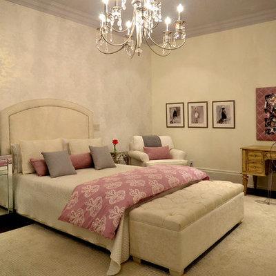 Elegant dark wood floor bedroom photo in Toronto with beige walls and no fireplace