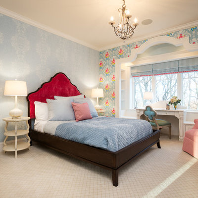 Elegant carpeted bedroom photo in Minneapolis with multicolored walls