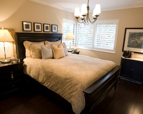 Black Bedroom Furniture   Houzz Small elegant master bedroom photo in Vancouver with beige walls and dark  hardwood floors. Black Bedroom Furniture. Home Design Ideas
