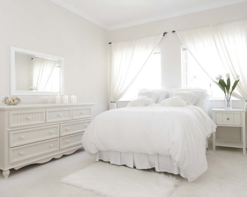 Awesome Example Of A Classic White Floor Bedroom Design In Other With Gray Walls