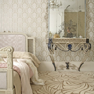 Photo of a shabby-chic style bedroom in Other with multi-coloured floor.