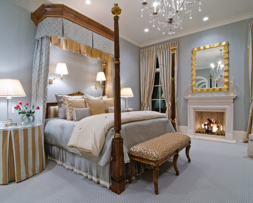 Bedroom - traditional bedroom idea in Atlanta with blue walls & Half Tester Canopy Bed | Houzz