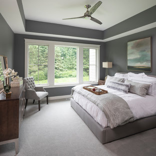 Bedroom - mid-sized traditional master carpeted and beige floor bedroom idea in Minneapolis with gray walls