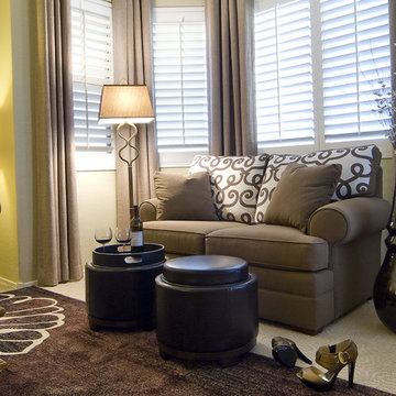 Traditional furnishings translated to a transitional look