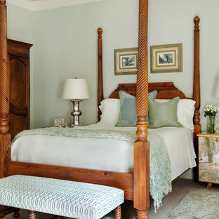 Example of a large classic master carpeted and beige floor bedroom design in Charlotte with green walls
