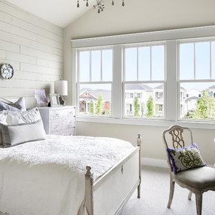 Ejemplo de habitación de invitados tradicional con paredes beige y moqueta