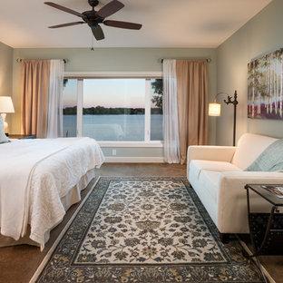 Elegant bedroom photo in Minneapolis with blue walls
