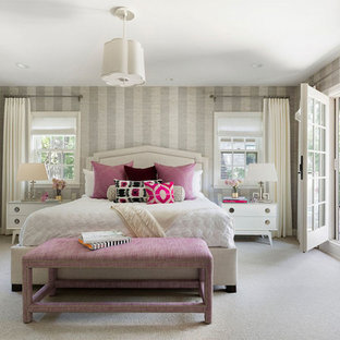 Inspiration For A Mediterranean Carpeted And Gray Floor Bedroom Remodel In Minneapolis With Walls