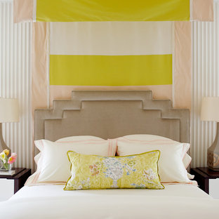 Mid-sized transitional master bedroom photo in Raleigh with white walls