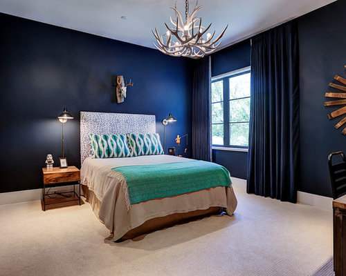Transitional Guest Carpeted And Beige Floor Bedroom Photo In Houston With  Blue Walls