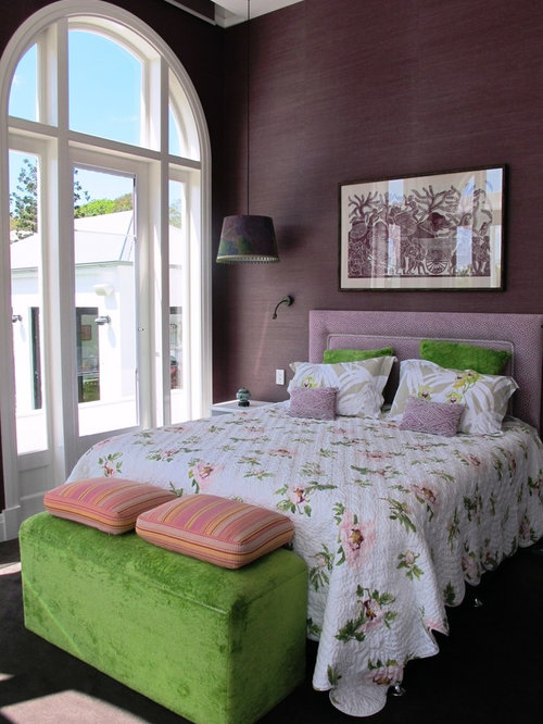 transitional bedroom design in brisbane with purple walls and carpet