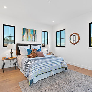 Inspiration For A Large Transitional Guest Medium Tone Wood Floor And Brown Bedroom Remodel In