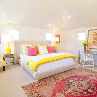 Bedroom Transitional Carpeted Idea In Austin With White Walls