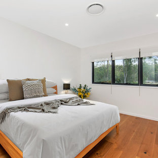 Photo of a transitional bedroom in Brisbane with white walls, medium hardwood floors and brown floor.