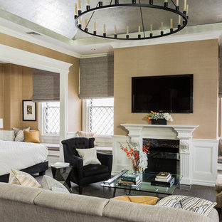 Inspiration for a huge transitional master carpeted bedroom remodel in Boston with beige walls and a standard fireplace