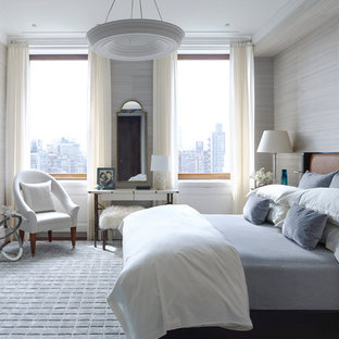 Inspiration for a transitional master bedroom remodel in New York with beige walls