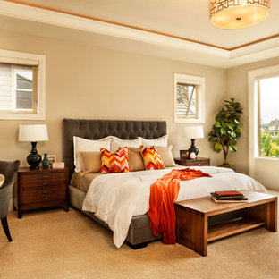 Transitional carpeted bedroom photo in Portland with beige walls