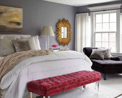 Transitional Dark Wood Floor Bedroom Idea In New York With Gray Walls