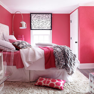 Idéer för ett klassiskt sovrum, med rosa väggar