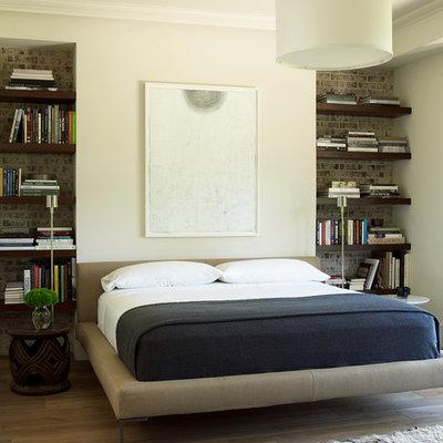 Bedroom - transitional dark wood floor bedroom idea in Houston with beige walls