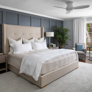 Bedroom - large transitional master dark wood floor and brown floor bedroom idea in Charlotte with gray walls and no fireplace