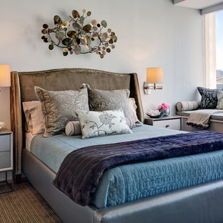 Mid-sized transitional master light wood floor bedroom photo in San Francisco with gray walls and no fireplace