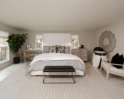 Gray Bedroom Design. Example of a transitional bedroom design in DC Metro with gray walls Top 20 Transitional Bedroom Ideas  Remodeling Photos Houzz