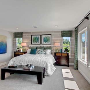 Example of a transitional carpeted bedroom design in Seattle with gray walls
