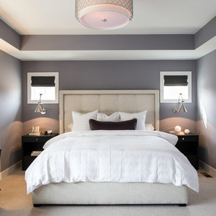This is an example of a mid-sized transitional master bedroom in Minneapolis with purple walls, carpet, no fireplace and grey floor.