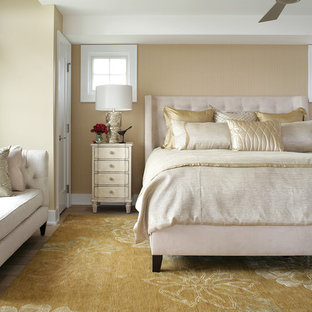 Bedroom - mid-sized transitional guest bedroom idea in Other with beige walls