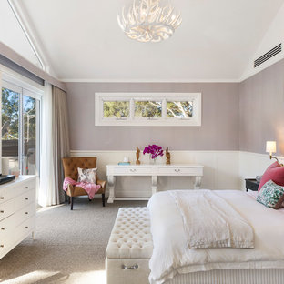 Inspiration for a transitional bedroom in Wollongong with purple walls, carpet and grey floor.