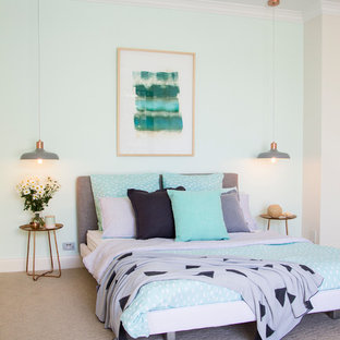 Example Of A Transitional Carpeted Bedroom Design In Gold Coast   Tweed  With Green Walls