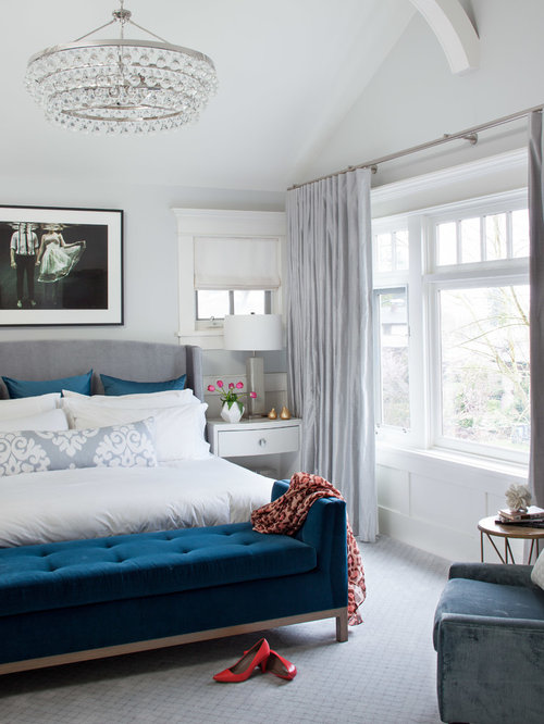 Example Of A Transitional Carpeted Bedroom Design In Vancouver With White  Walls