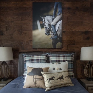 Transitional bedroom photo in Other with brown walls