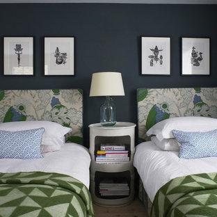 Ispirazione per una camera degli ospiti tradizionale di medie dimensioni con pareti blu, parquet chiaro e nessun camino