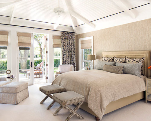 Large Transitional Master Bedroom Idea In Miami With Beige Walls And Carpet